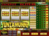 Tunzamunni Slot  spil med 1 til 5 mønter. Maks. bet for at vinde jackpotten.