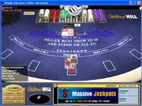 William Hill Casino offer Multi Player Blackjack with Betting Limits from $1 and up to $5000 a hand