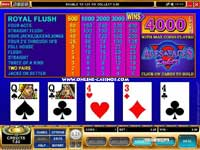 Aces and faces Video Poker: Bonus payoffs are available for 4-of-a-kind hands in this Video Poker game